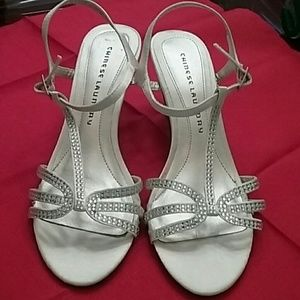 Chinese Laundry Ivory Satin Heels